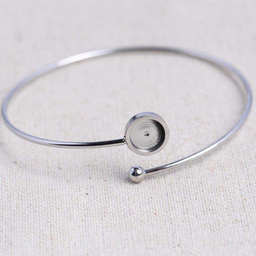 Reidgaller 5 pcs aço inoxidável bracelete de espaços em branco da base fit 8mm rodada moldura bandejas configurações cabochão diy bangle para pulseiras