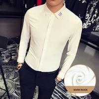 Unique Mens Shirt Dress Embroidery Collar Chemise Slim Fit Long Sleeve Shirts Social Men Camisetas Hombre Blusa Roupas Camisas