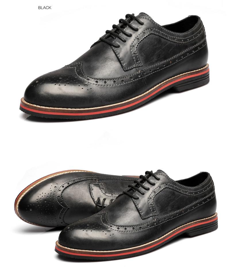 97431bd247a LUOBANIU Brand 2017 Plus Size 38~47 Men Brogue Shoes Split Leather Shoes  Fashion Wedding Shoes Men Lace-Up Oxfords Dress Shoes