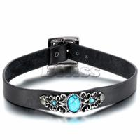 Europe And Retro Elegance Womens Imitation Turquoise Pendant Black Collar Leather Choker Necklace For Women Colgantes