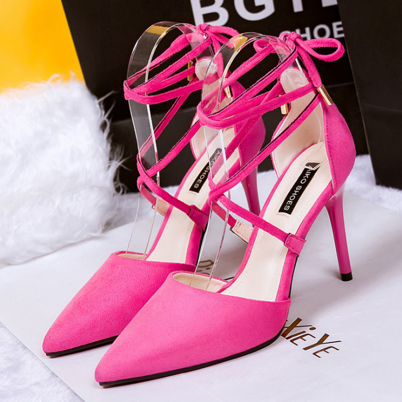 black pink grey strappy stiletto high heels