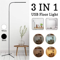 CLAITE 8W Modern Stand Floor Lamp White & Warm White LED Floor Lamp Dimmer USB Desk Reading Light Fixture for Bedroom Decor