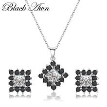 Подлинная 925 пробы серебро черный и подвеска белый камень ожерелья серьги гвоздики Ювелирные наборы для женщин PT004