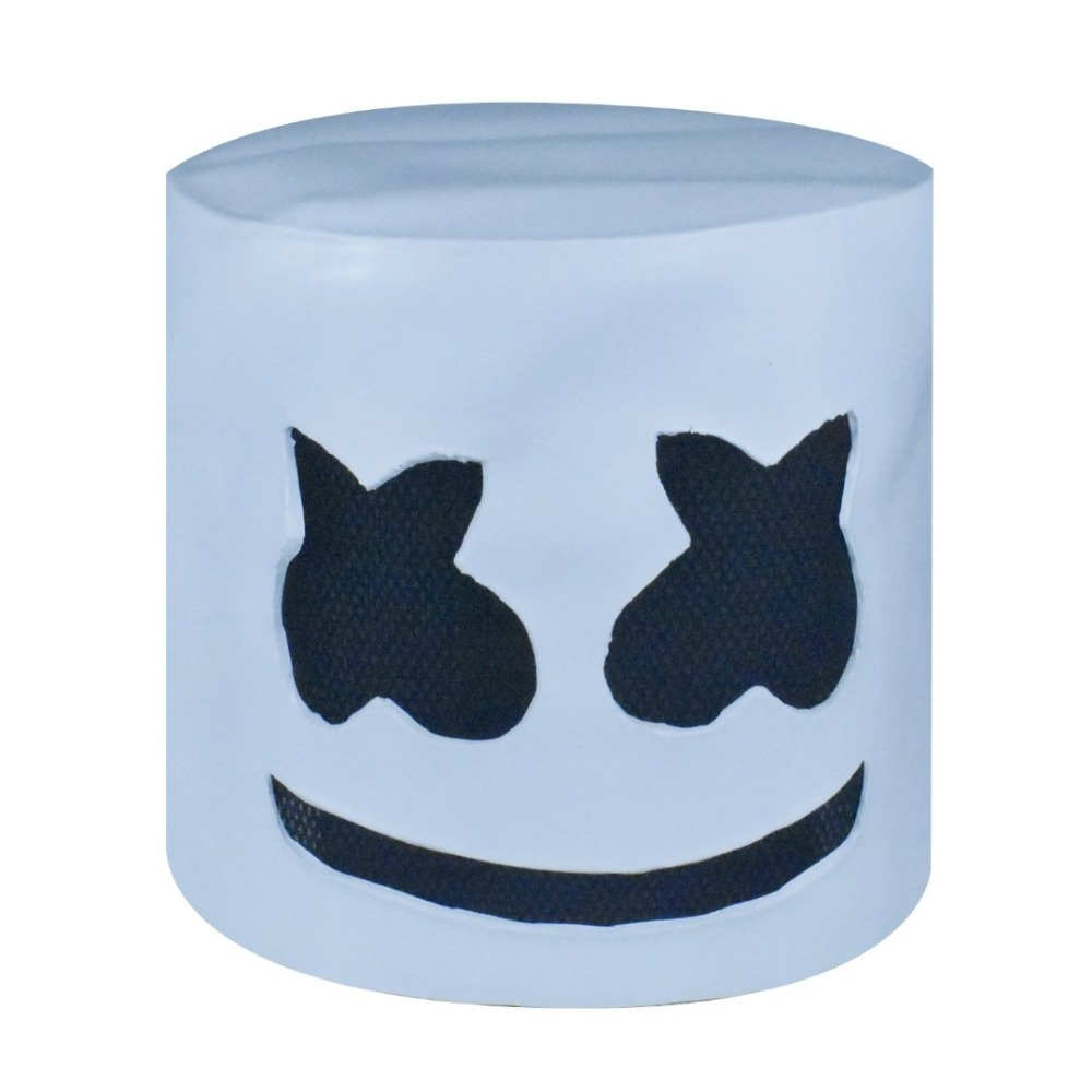 ZSQH DJ Marshmello atex Mask Cute Marshmallow helmet Cosplay Halloween Headgear masks Accessory White Mask For Kids Children