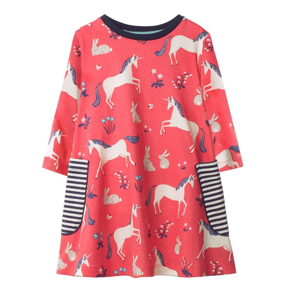 Vestidos de meninas Animais Cavalo de Impressão Crianças Roupas 2018 Algodão Primavera Outono Manga Longa Ocasional Partido Da Menina Do Bebê Vestidos Casuais Menina