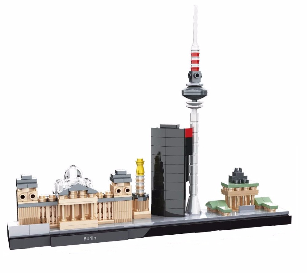HSANHE Architecture Berlin Skyline Collection Gift Building Blocks Sets City Bricks Classic Model Kids Toys Compatible Legoings hot sembo block compatible lepin architecture city building blocks led light bricks apple flagship store toys for children gift