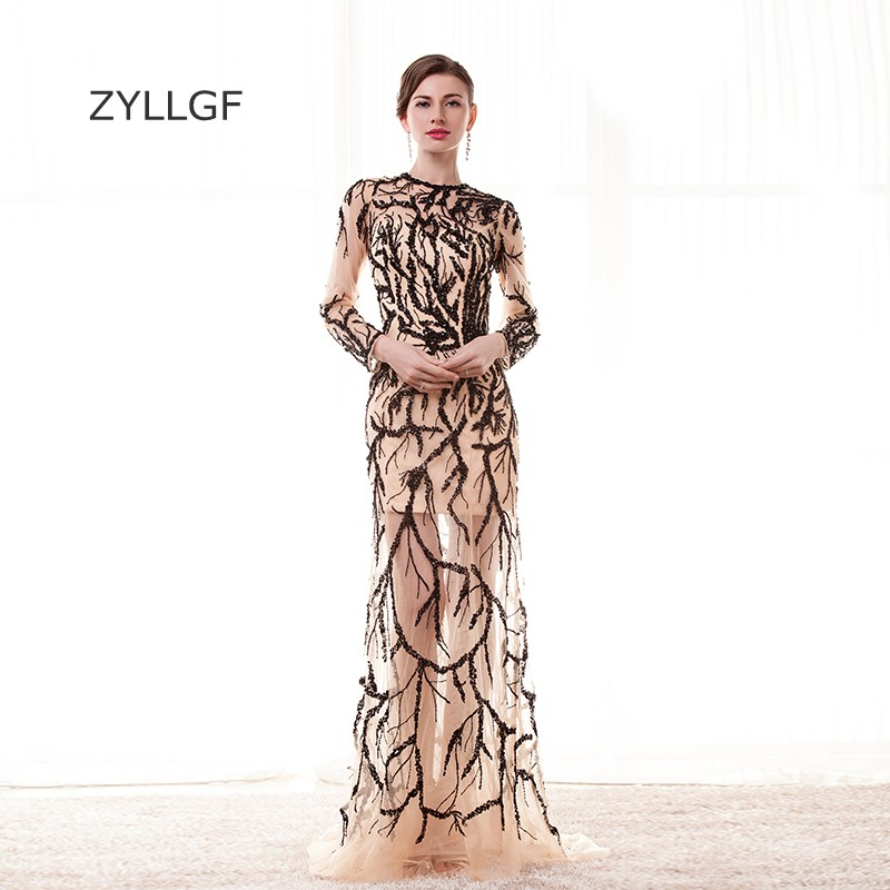 ZYLLGF Mother Of Bride Dresses Luxury Fishtail O Neck Long Sleeve Formal Gown Sequins Beaded Party Wear Keyhole Back Q128
