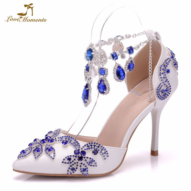 Luxurious Wedding Party Shoes Pointed Toe Royal Blue Rhinestone Heels Bridal Shoes Thin Heel Sandals Special Event Prom Pumps