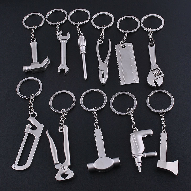 TAFREE Fashion Tools Keychains Spanner,Hammer,Saw,Axe,Wrench,Electrodrill,Scissors Alloy Pendants with Chains useful Key chains