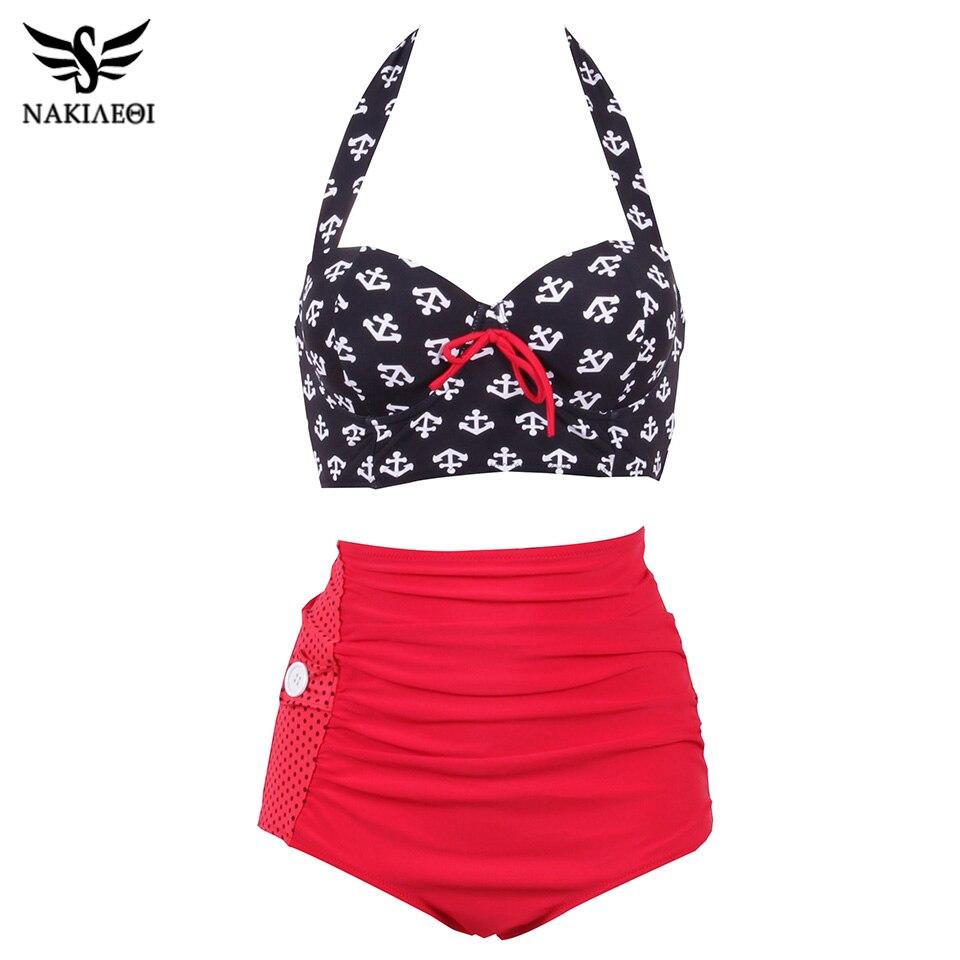NAKIAEOI Plus Size Bikini Women High Waist Swimsuit Vintage Pin Up Bathing Suit Swim 2019 Retro Swimwear Large Size Swimsuit 4XL