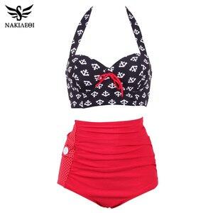 Image 1 - NAKIAEOI Plus Size Bikini Women High Waist Swimsuit Vintage Pin Up Bathing Suit Swim 2019 Retro Swimwear Large Size Swimsuit 4XL