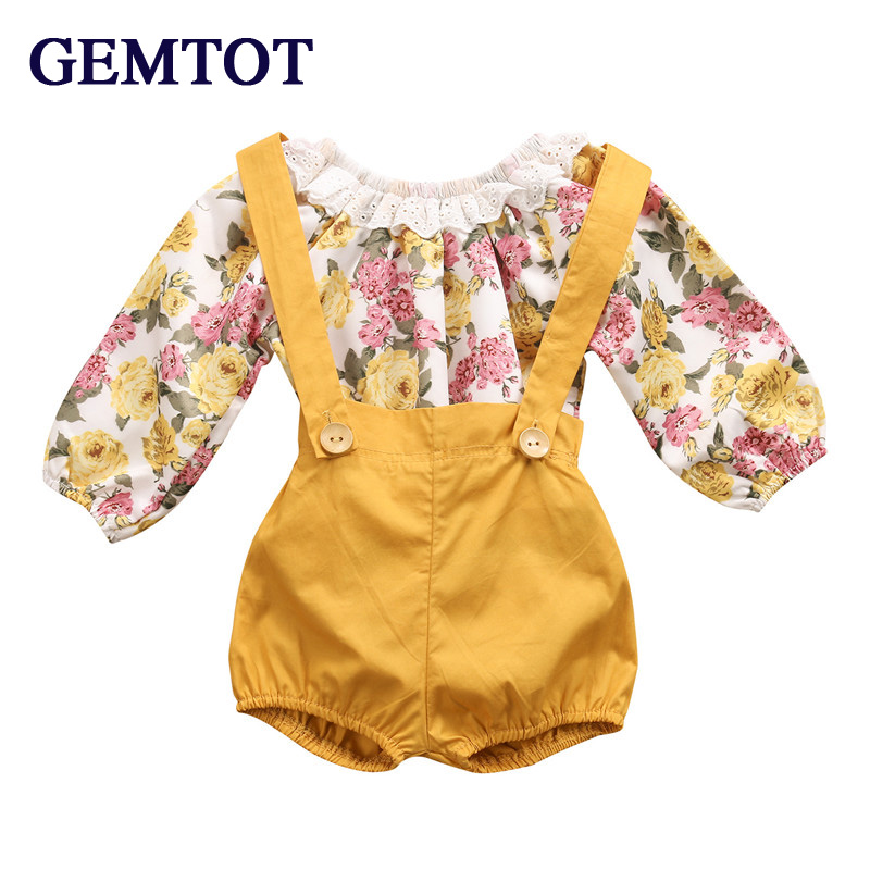 679ee73b779ab GEMTOT Newborn Baby Girls Princess Floral Long Sleeve Romper+ Suspenders  Short Pants Jumpsuit Sunsuit Clothes