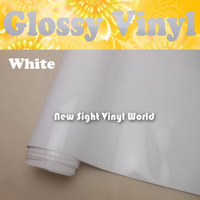 High Quality Glossy White Vinyl Wrap White Gloss Vinyl Wrap Gloss White Car Wrap Air Bubble Free Vehicle Wrap Size:1.52*30m/Roll