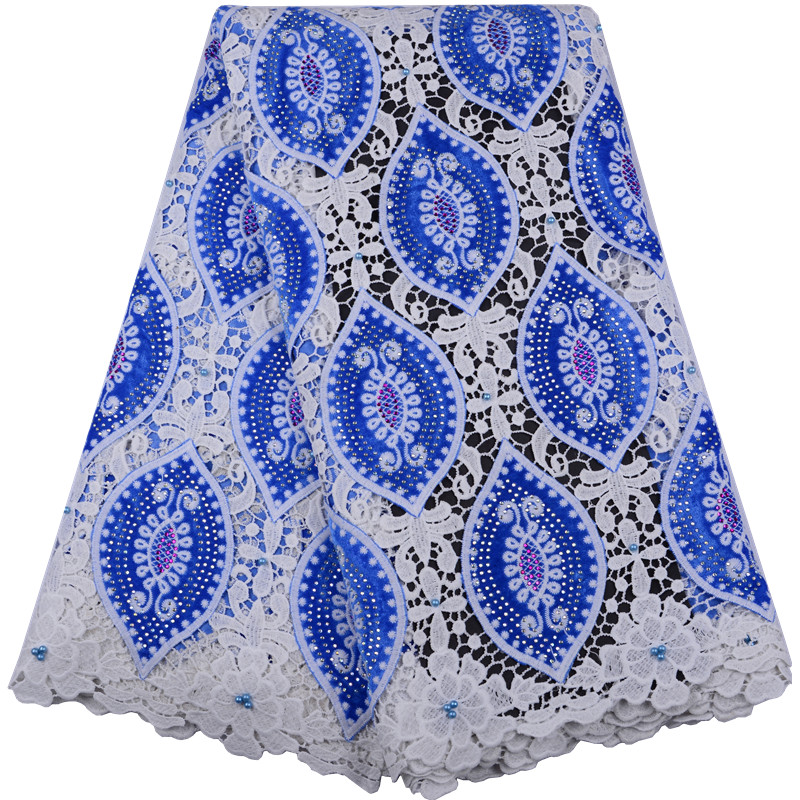 Latest Blue African Lace Fabric With Beads Guipure Mesh Lace Fabric High Quality Nigerian Cord Velvet