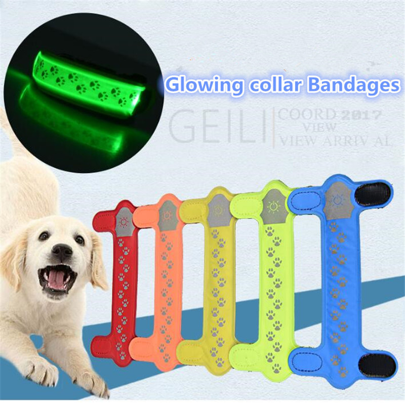 A47 pet dog cat light collar Bandages nylon lights collar light-emitting LED pet collar Bandages