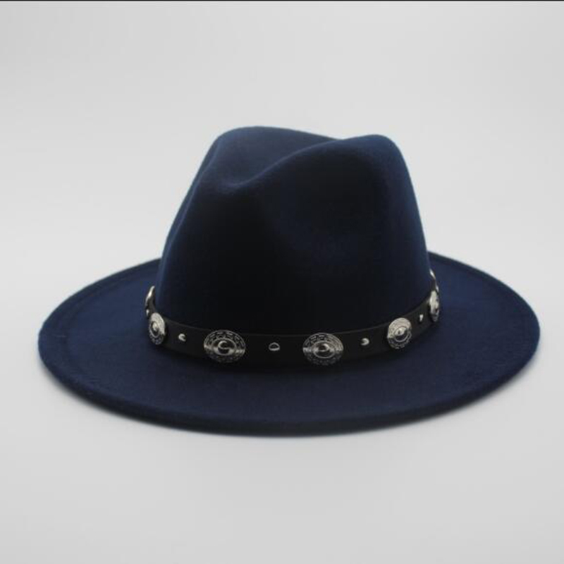 Fashion Wool Men's Women's Winter Autumn Fedora Hat With DIY Punk Belt Wide Brim Church Sombreros Jazz Cap Top Sun Hat(China)