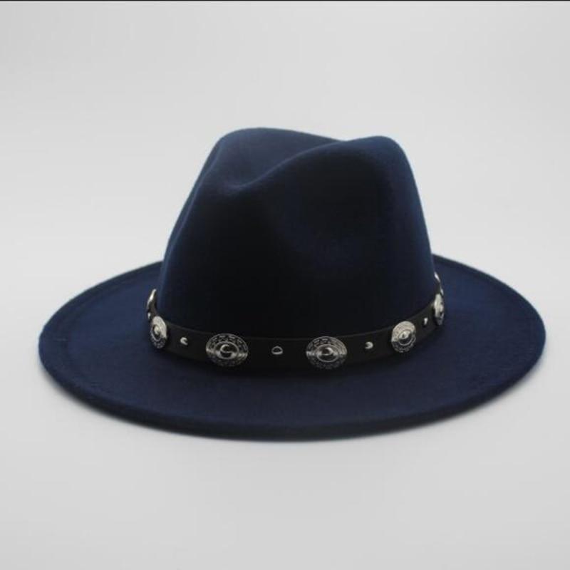 c503f7e1963 Fashion Wool Men s Women s Winter Autumn Fedora Hat With DIY Punk Belt Wide  Brim Church Sombreros Jazz Cap Top Sun Hat