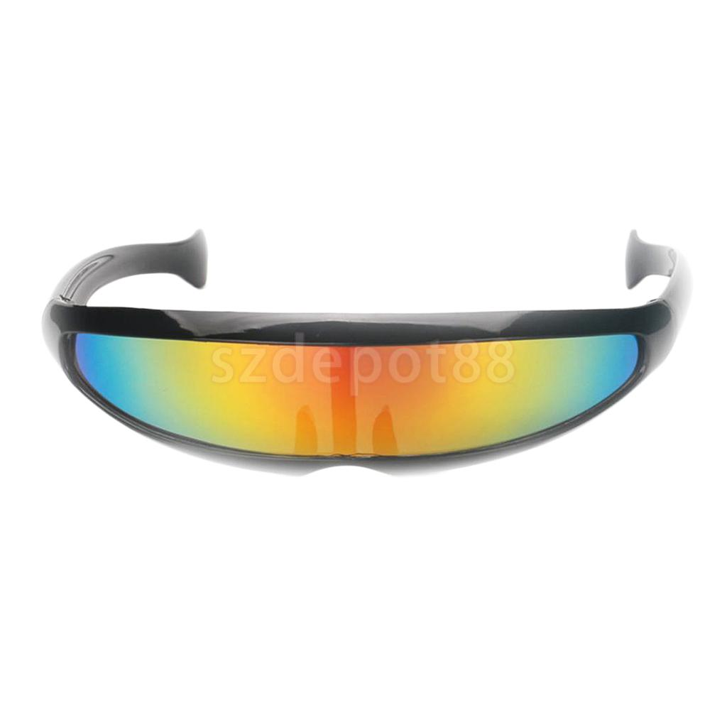 Futuristic Narrow  Color Mirrored Lens Visor Sunglasses Party Cosplay