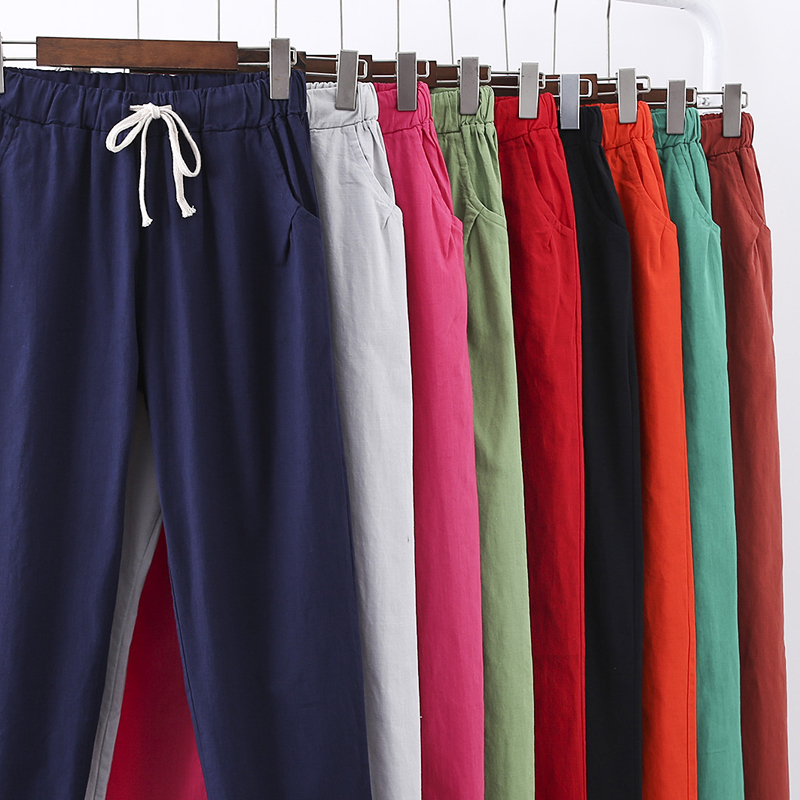 Ankle-Length Womens Straight Pants Capris High Waist Vintage Mom Pants Flat Trousers Lightweight Female Summer Pants 2019