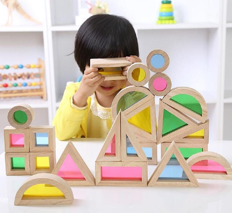 Montessori drveni duge građevni blokovi 24pcs igračke za djecu 6 - Izgradnja igračke - Foto 3