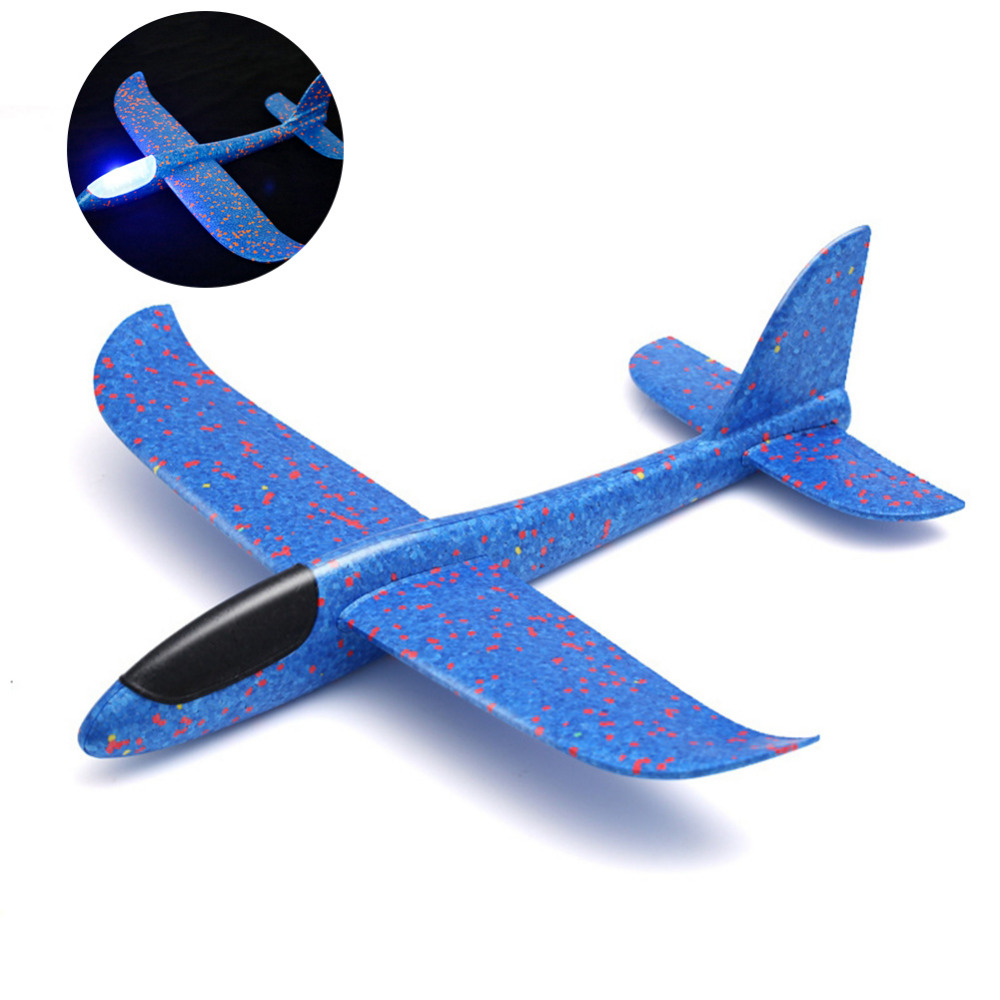 New Luminous Foam Airplane EVA Hand Throw Outdoor Launch Glider Plane 48CM Interesting Inertia Airplane Toys For Kids Best Gift