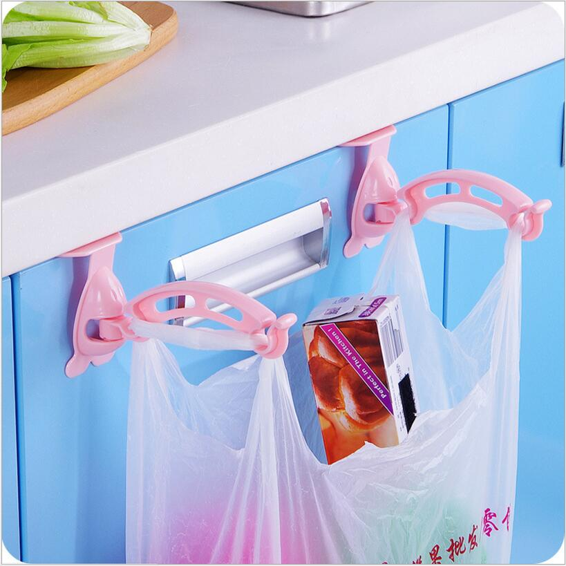 2pcs Cabinet Bags Hooks Trash Garbage Bag Hanger Cupboard