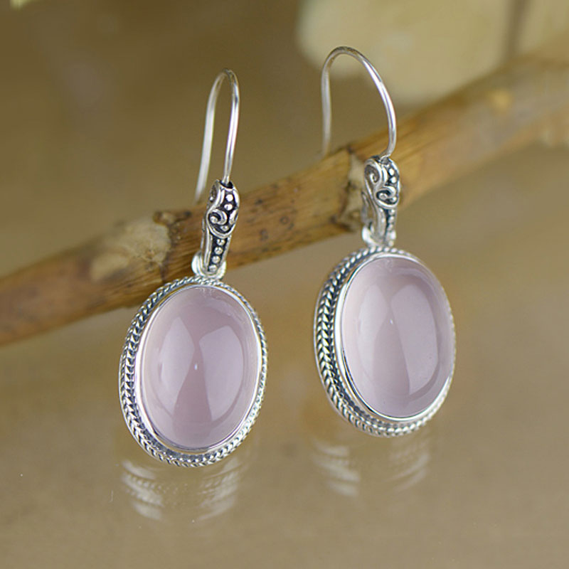925 Silver Earring Natural Pink Stone 100% S925 Sterling Silver boucle Drop Earrings for Women Jewelry natural stone 925 sterling silver drop earrings fine jewelry earrings for women aj
