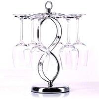 Stainless Steel 6 Hanger Wine Glass Rack Holder Modern Room Home Decoration