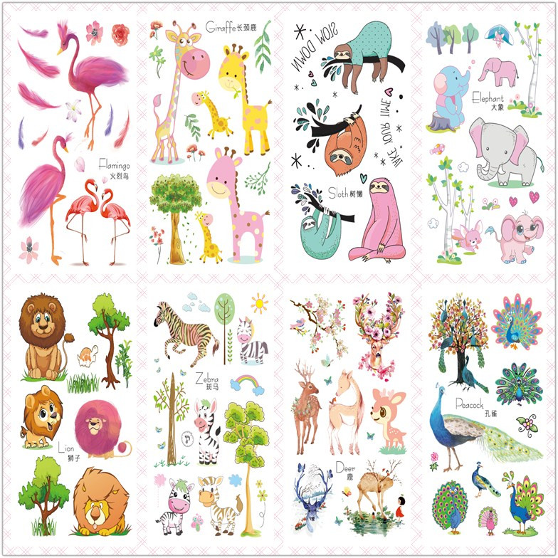 Rocooart 2020 New Cute Cartoon Flash Taty Flamingo Lion Waterproof Temporary Tattoo Stickers For Children Body Art Tatuajes Kids