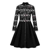 Sisjuly Autumn Retro Patchwork Lace Dress Knee Length Party Dress Full Sleeve Sexy Black A Line Cardigan Zipper Vintage Dresses