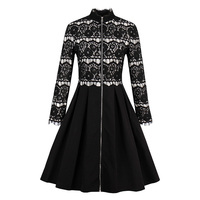 Sisjuly Autumn Retro Patchwork Lace Dress Knee Length Party Dress Full Sleeve Sexy Black A Line Cardigan Zipper Vintage Dresses