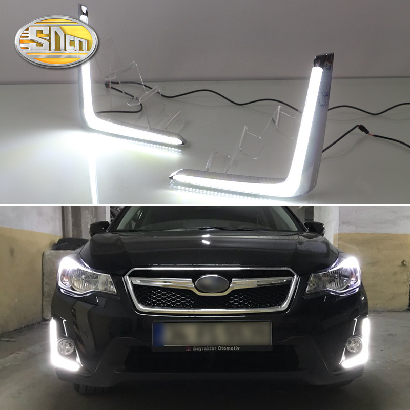 For Subaru XV 2016 2017,Dimming Style Relay Waterproof Chromed ABS Cover Car DRL 12V LED Daytime Running Light Daylight SNCN for ford explorer 2016 2017 yellow signal function waterproof abs cover car led drl 12v led daytime running light daylight sncn