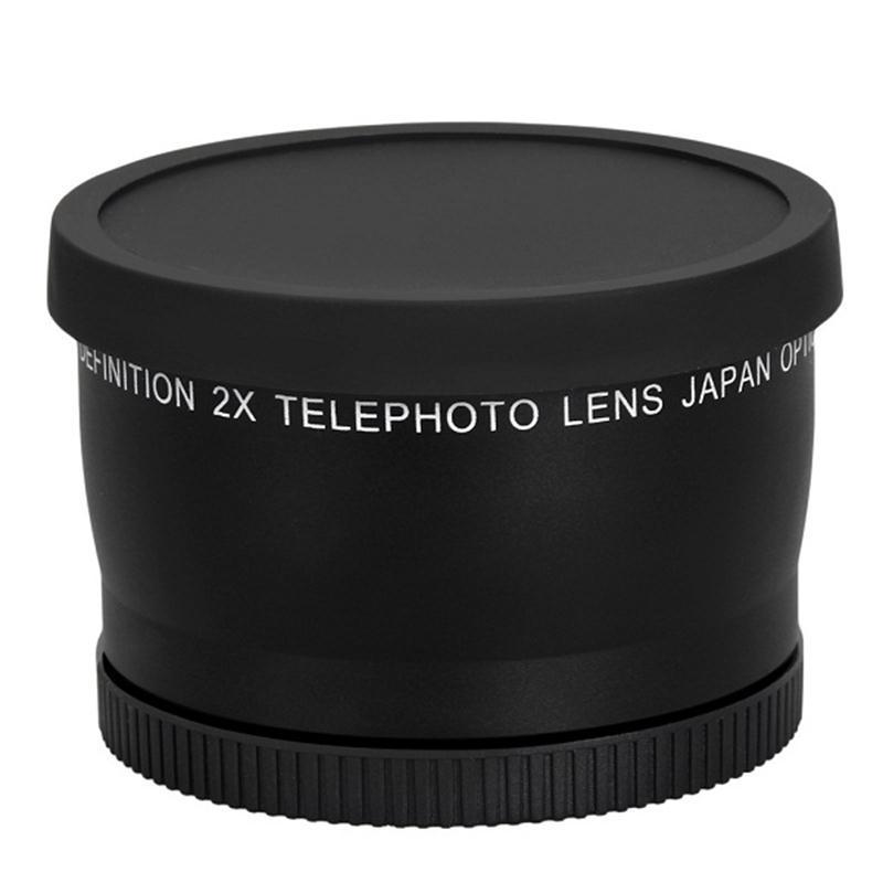 58mm 2.0X TELE-OBJEKTIV + Vorne und Hinten Cap + Pu-leder Tasche für Kanone 550D 600D 650D 700D 1100D 450D 500D 1000D 18-55mm objektiv