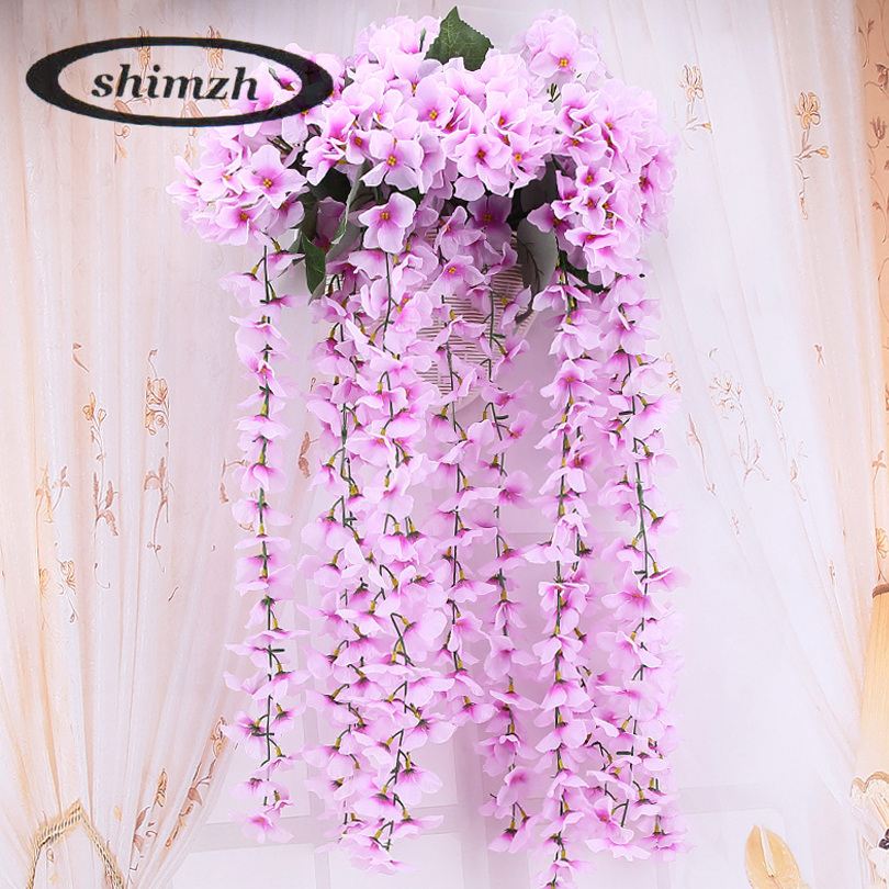 Shimzh 80cm artificial hydrangea flowers vine for party romantic shimzh 80cm artificial hydrangea flowers vine for party romantic wedding decorative high quality colorful wisteria silk flowers mightylinksfo