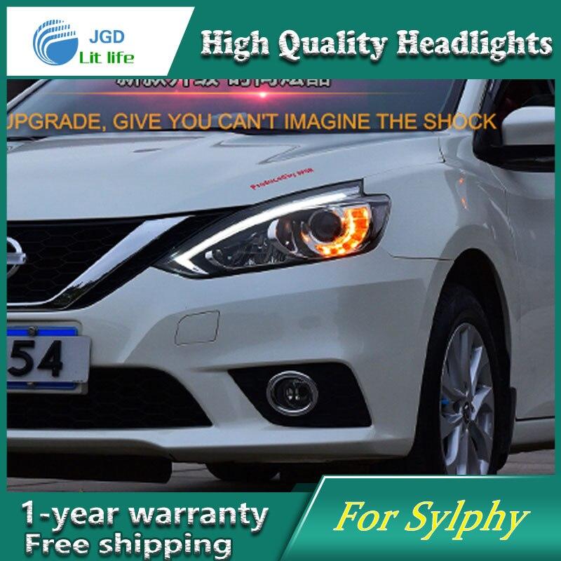 Стайлинга автомобилей Глава лампы для Nissan доработанный sylphy 2016 фар LEDDRL Н7 d2h, можно запасной вариант Ангел глаз-объектив противотуманные фары би ксенон Луч