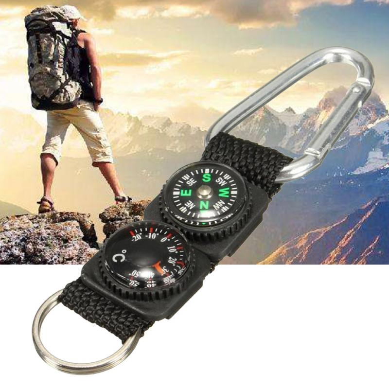 Camping Climbing Hiking Mini Carabiner Keychain  Thermometer Hanger Key Chain
