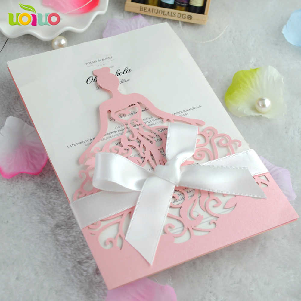 Free Shipping Birthday Party Pink Ballerina Girl Invitation Cards Wholesale And Retail