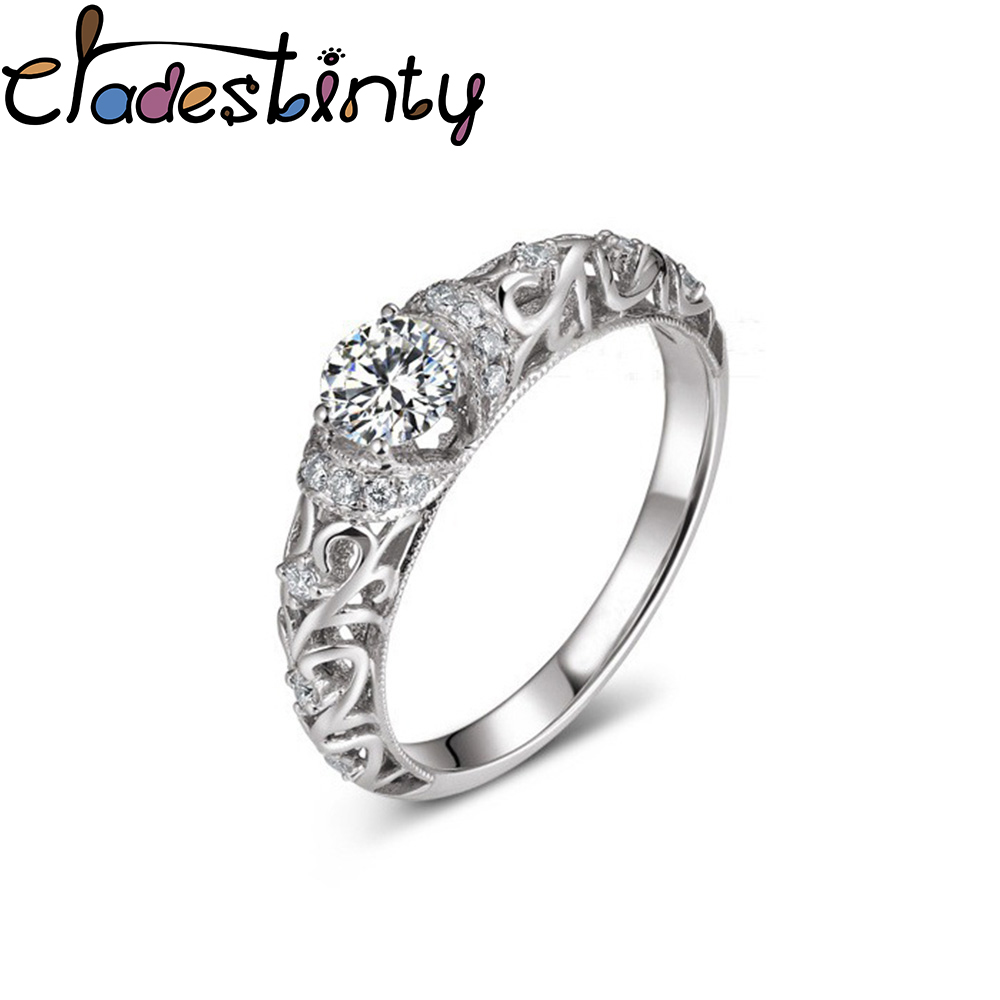 Chadestinty Simple Silver Wedding Finger Rings Crystal