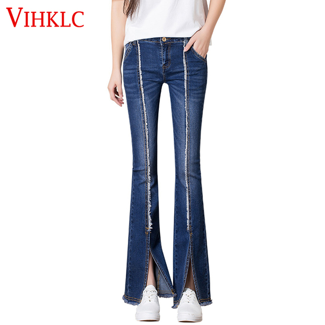 2017 D Donna New Vinklc Retro Jeans Flare Fashion Bell Style Zpw7dqxTa