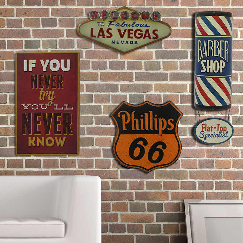 Retro American Special Shade Las Vegas Tin Signs STP Pinball Seafood Brakes  Barber Bar Vintage Decor Wall Art Metal Signs YN090