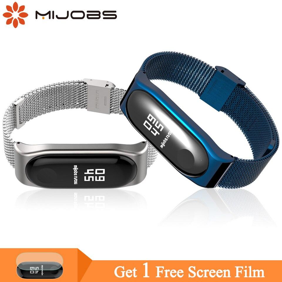 Mijobs Mi Band 4 Wrist Strap Metal Screwless Stainless Steel For Xiaomi Mi Band 4/3 Strap Bracelet Pulseira Miband 3 Wristbands