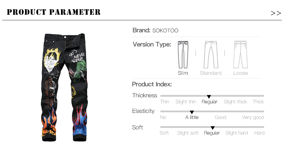 Sokotoo Men's fashion letters flame black printed jeans Slim straight colored painted stretch pants 47
