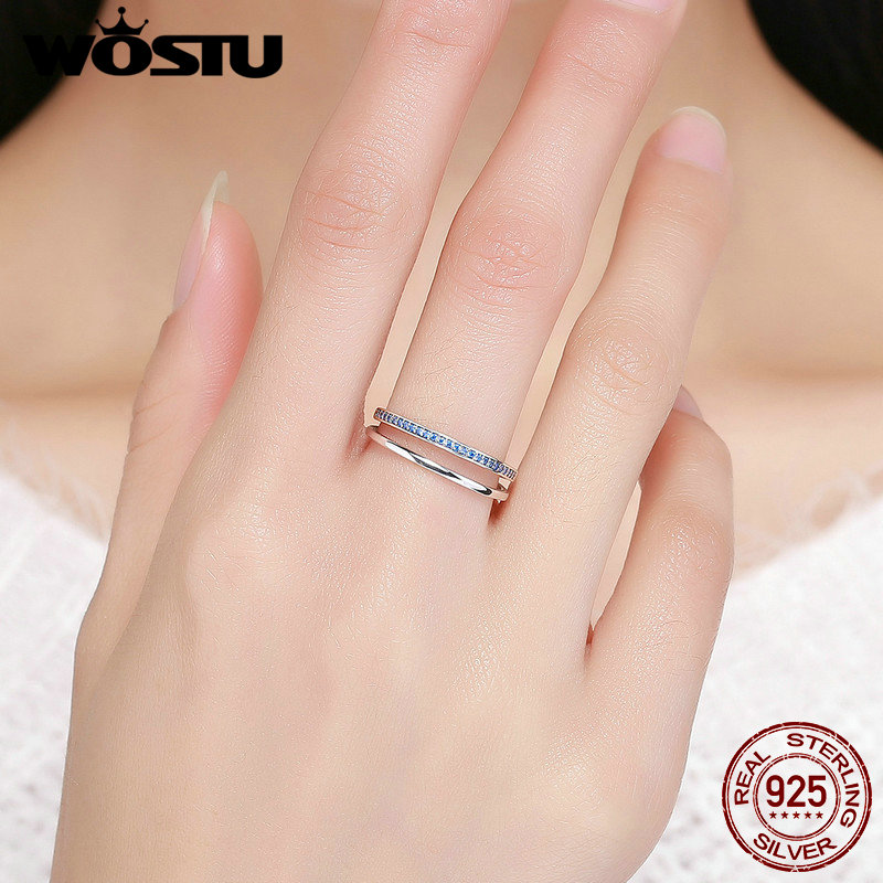 WOSTU Hot Sale Real 925 Sterling Silver Blue Movement Finger Rings for Women Silver Fashion Jewelry Gift CQR293