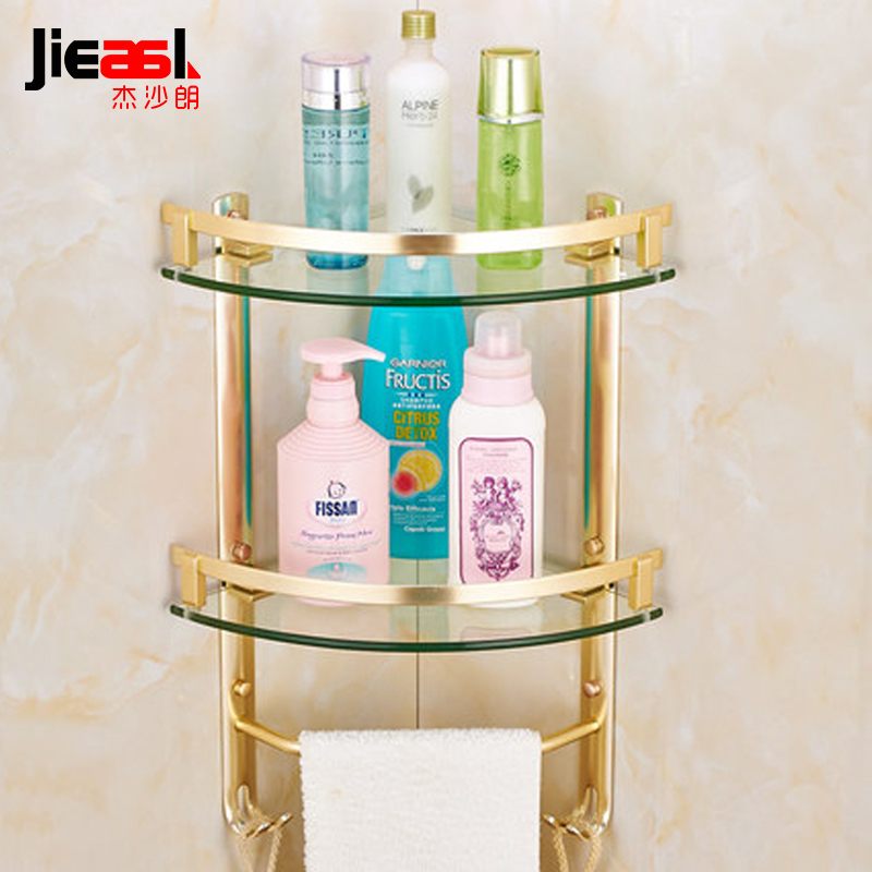 Aluminum Dual Tier Bathroom Corner Shelf Cosmetic rack with Single Lever Bathroom Rack Shelf Households Rack Bathroom Shelves лампа светодиодная 10215 e14 6w 4500k шар матовый led g45 6w nw e14 fr o