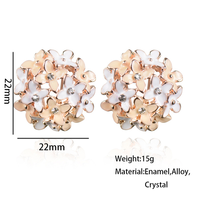 Stud Earrings for Women Female 2017 Boucle d'oreille Crystal Flower Clover Earring Gold Bijoux Jewelry Brincos Mujer 2