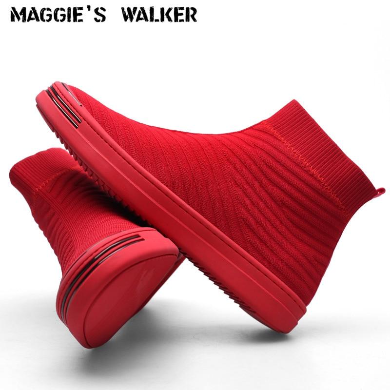 A maggie está Walker Homens Novos da Chegada Prevista de Malha Casuais Sapatos Da Moda Sapatos de Plataforma Sapatos de Lona Elástica Tamanho 40 ~ 44
