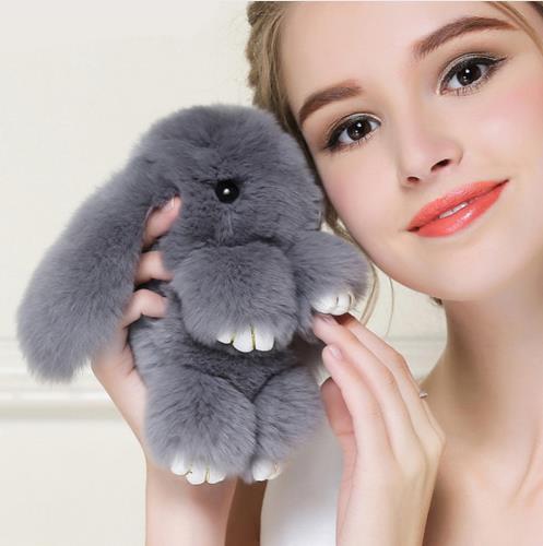 Высокое качество 15 см игра мертвый кролик Мех животных кролика Банни брелок меховой помпон помпонами брелок для ключей кролик игрушка кукл...