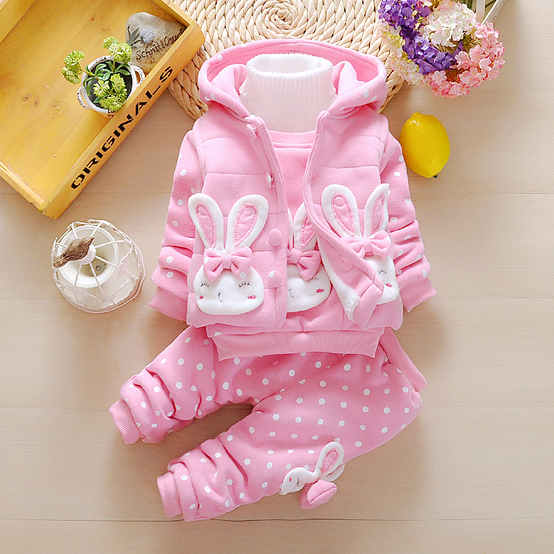 3Pcs Toddler Baby Girls Clothes Set 2018 New Thick Velvet Clothing Sets Cartoon Rabbit Hooded Vest