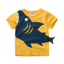 Summer New Boy Short Sleeve T-shirt Cotton Cartoon Shark Tshirt Green Orange Kids Clothing Baby Toddler Top Wear