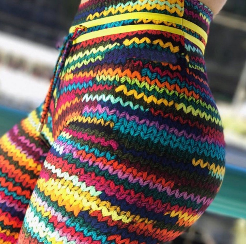 Neue Original Stricken Druck Leggings mit 2 Yellow String auf Taille und Bunte String Front Drop Verschiffen Leggin